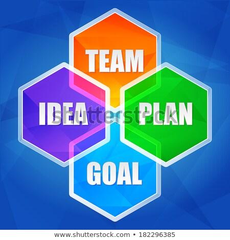 idea team plan goal in hexagons flat design stock photo © marinini