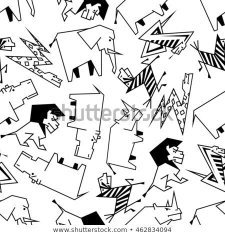 Sketch hippo and rhino, vector seamless pattern Stock photo © kali