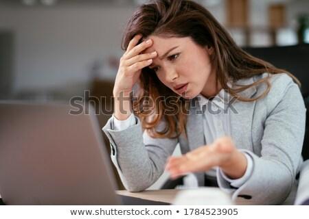 empresária · enxaqueca · mão · cabeça · mulher · trabalhar - foto stock © vizualni