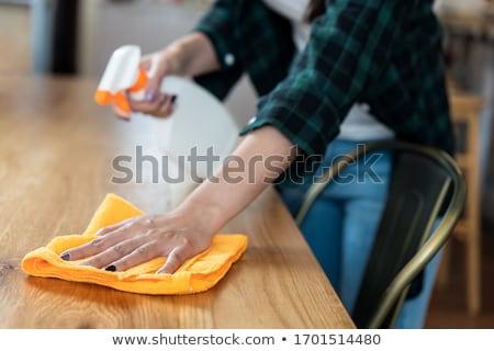 Nő takarítás pult konyha zene ház Stock fotó © wavebreak_media