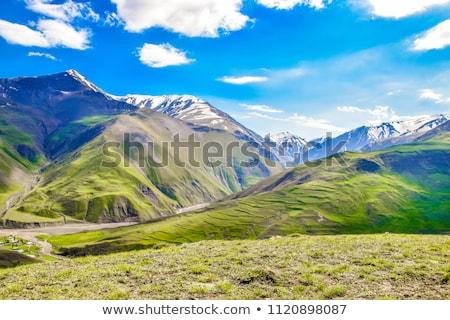 verano · paisaje · montanas · Azerbaiyán · cielo · casa - foto stock © elnur