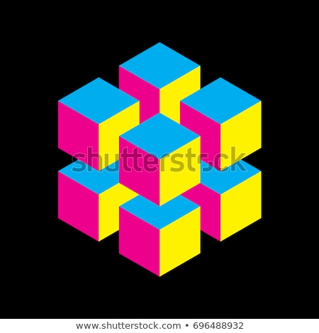 Magenta brilhante 3D cubo logotipo ícone Foto stock © cidepix