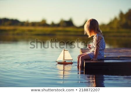 女の子 リラックス 湖 アジア 少女 ストックフォト © jarenwicklund