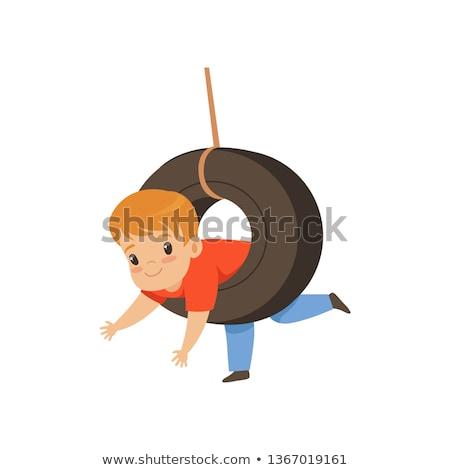 Chłopca opon huśtawka drzewo lasu dziecko Zdjęcia stock © IS2