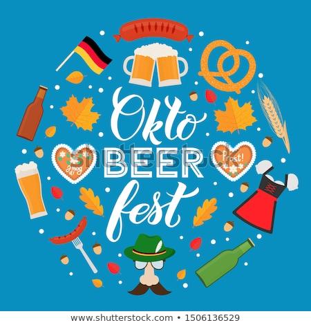 Oktoberfest symbol of beer, sausage and pretzel. Sign National H Stock photo © popaukropa