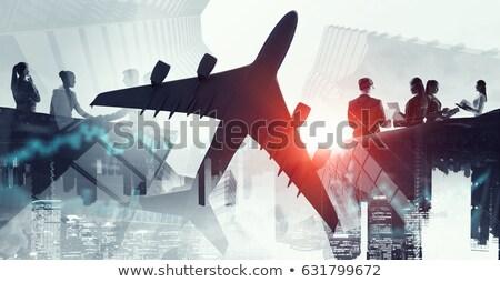 Vegyes média légi közlekedés emberek globális kapcsolatok Stock fotó © alexaldo