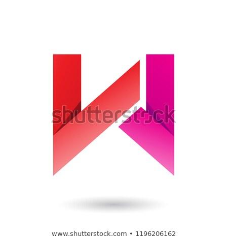 Vermelho magenta dobrado papel letra w vetor Foto stock © cidepix