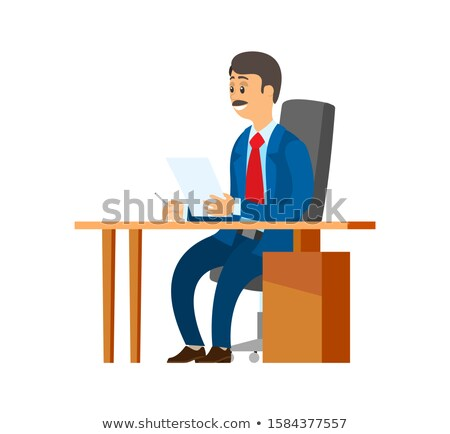 boss chief executive with pile of papers in hands stok fotoğraf © robuart