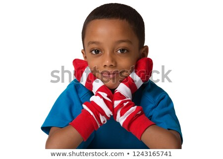 Rood witte shirt illustratie glimlach Stockfoto © colematt