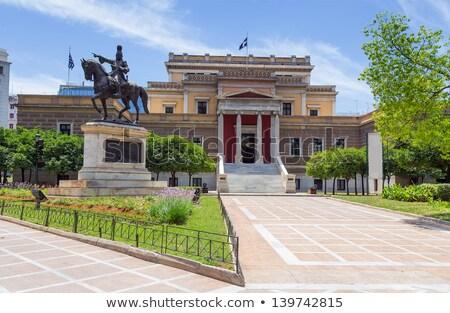 ストックフォト: 古い · 議会 · 家 · アテネ · 像 · 花