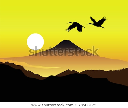 the sacred mountain of Fujiyama with two cranes Stock photo © mayboro