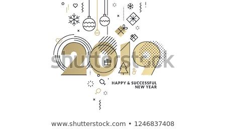 glückliches · neues · Jahr · Vektor · Banner · Vorlage · Grußkarte - stock foto © decorwithme