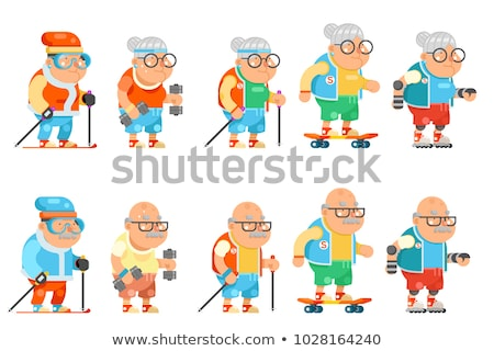 Old Man Hipster Sportsman Senior Person Vector Stock photo © robuart