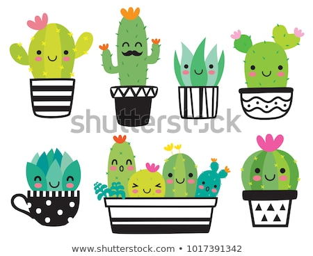 cartoon illustration   set cactus characters stock photo © rwgusev
