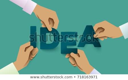 Manos papel ilustración bisturí Foto stock © lenm