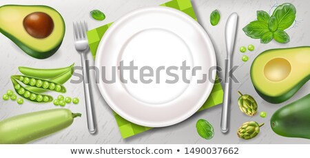 Avocado and greens poster Vector realistic. White plate healthy  Stock photo © frimufilms