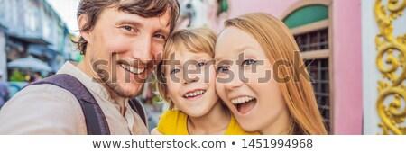 Bandeira longo formato mamãe pai filho Foto stock © galitskaya