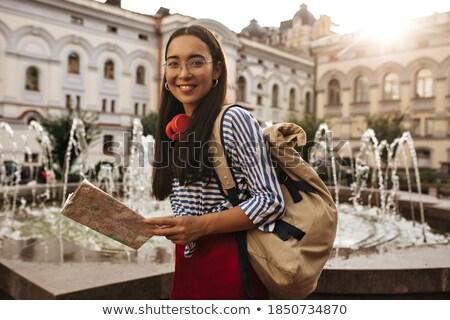 Afbeelding mooie vrouw Rood rok glimlachend Stockfoto © deandrobot