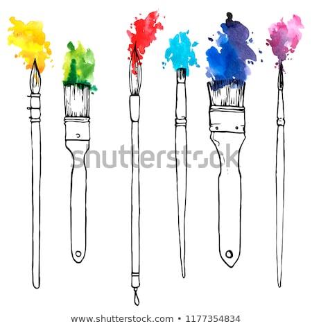 Paletine fırça boya sanatçı eller yağ resim Stok fotoğraf © lightpoet