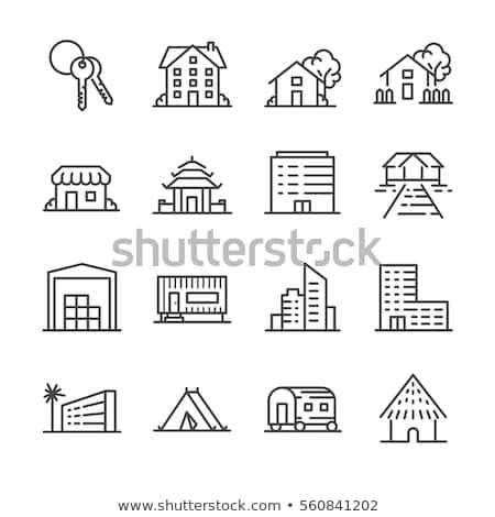 Vektor bérlés vásár ház ikon épület Stock fotó © nickylarson974