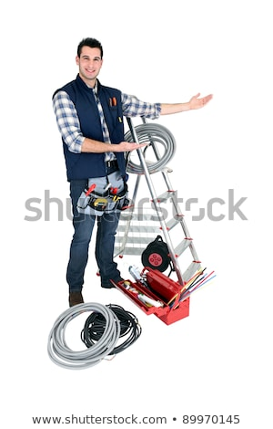 A tradesman with his tools and a stepladder Stock photo © photography33