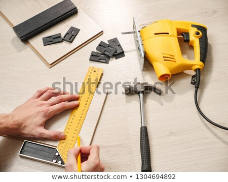 Parquet layer making measures Stock photo © photography33