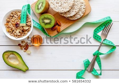 prato · fita · métrica · faca · garfo · dieta · comida - foto stock © grazvydas