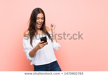 kadın · telefonu · zafer · jest · mutlu · iş · kadını · telefon - stok fotoğraf © feedough
