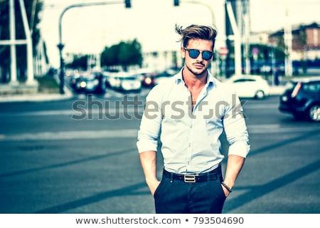 Открытый черно белые портрет Sexy рубашки Сток-фото © curaphotography