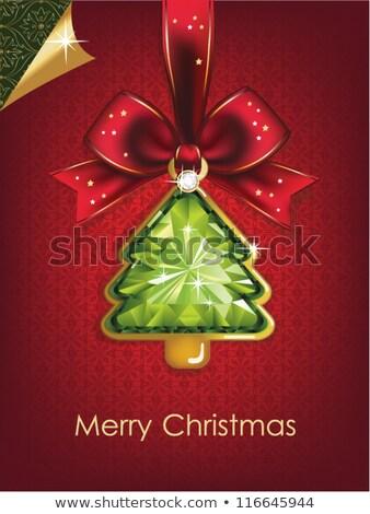 Diamond Christmas tree card with bow, vector illustration  Stock photo © carodi