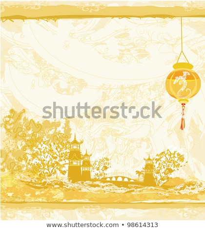 old paper with japanese temple on asian landscape stock photo © jackybrown
