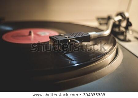 Közelkép gramofon fém hang történelem fotózás Stock fotó © bmonteny