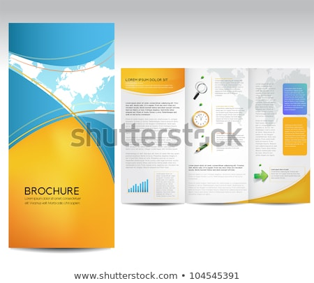Tri Fold Global Business Brochure Template Stock photo © rioillustrator