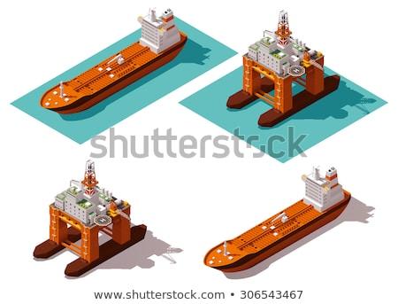 Vektor izometrikus olajtanker hajó ikon gyűjtemény olaj Stock fotó © tele52
