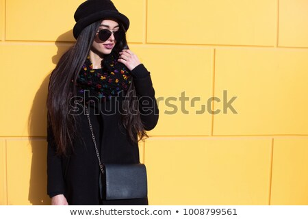 Vrouwen wol jas straat grijs zonlicht Stockfoto © deyangeorgiev