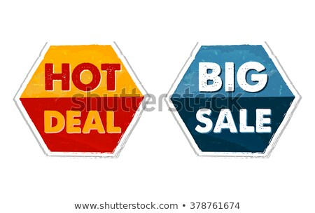 Hot Deal And Big Sale In Grunge Flat Design Hexagons Labels Foto stock © marinini