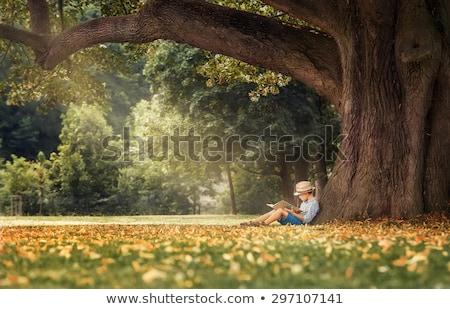 Küçük erkek okuma kitap açık havada iki Stok fotoğraf © zurijeta
