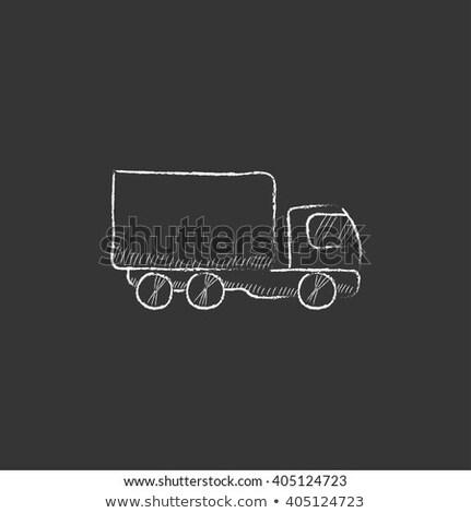 Teher vagon rajzolt kréta ikon kézzel rajzolt Stock fotó © RAStudio