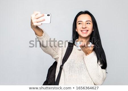 Szczęśliwy kobieta kiss cute Zdjęcia stock © deandrobot