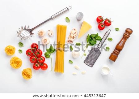 Spagetti malzemeler ahşap yumurta tablo Stok fotoğraf © M-studio