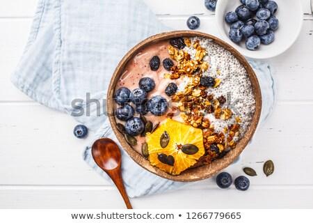 Smoothie kommen gezonde ontbijt kom Blauw Stockfoto © Illia