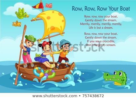 crianças · barco · cena · ilustração · céu · árvore - foto stock © bluering