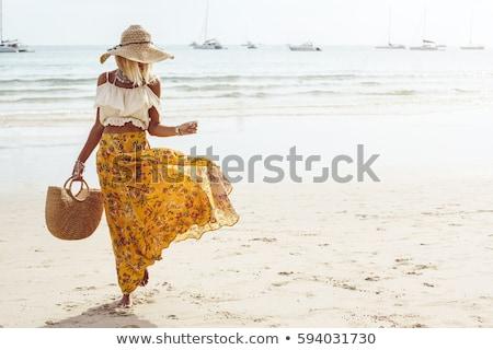 Nő hippi ruházat illusztráció lány boldog Stock fotó © colematt