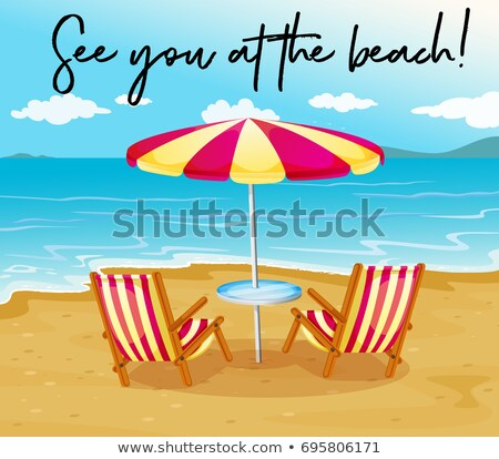 Beach scene with phrase see you at the beach Stock photo © colematt