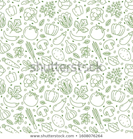 Cook with green doodle vegetables  Stock photo © ra2studio