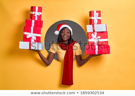 vrolijk · meisje · christmas · hoed - stockfoto © deandrobot