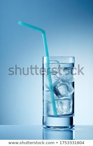 Vidrio agua paja primer plano metal transparente Foto stock © AndreyPopov