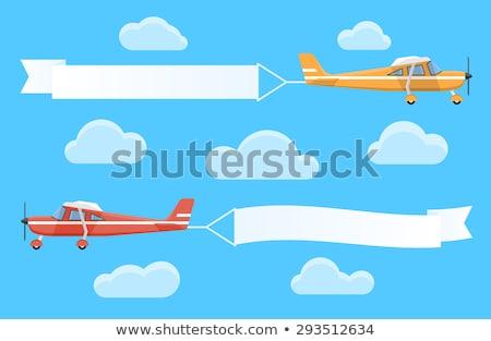 Retro kétfedelű repülőgép repülőgép repülés felhők pop art Stock fotó © studiostoks