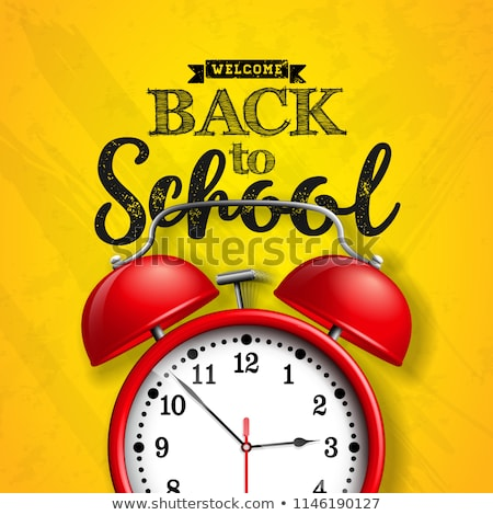 Back To School Design With Yellow Alarm Clock And Typography On Green Chalkboard Background Vector Stok fotoğraf © articular