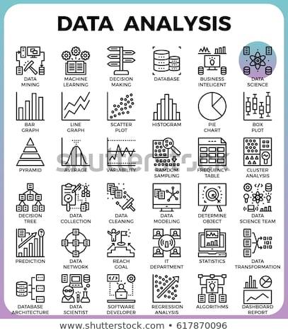Stock photo: detailed graph statistics icon vector outline illustration